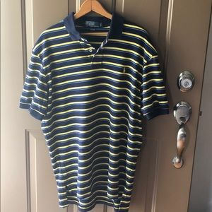 Ralph Lauren collard shirt stripped blue/yellow L